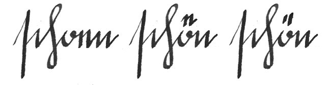 evolution umlaut dots in handwriting - schön (beautiful)