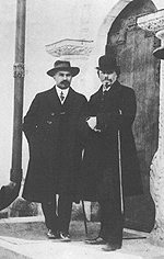 Mikhail Nesterov (left in the picture) and architect Shusev at the Mary and Martha Convent in 1912